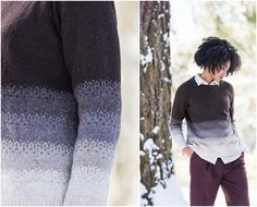 Townes by Julie Hoover, from the Brooklyn Tweed Yokes Collection. Knit in a gradient of Loft colors. Brooklyn Tweed, Men Sweater, Loft, Pullover, Knitting, Colors, Sweaters, Collection, Fashion