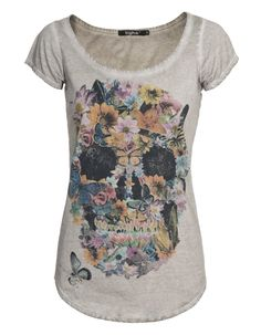 TIGHA - Flower Skull Light Grey