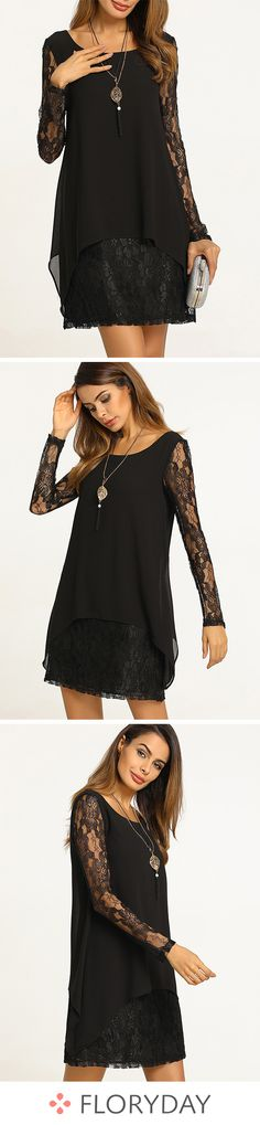 77b3c83a9888b Dress above the knee and long sleeves in plain lace - Magnet Mode City
