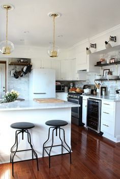 Black, white, gold, and marble kitchen makeover