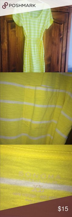 🌼🐠 CUTE SONOMA KNIT DRESS ! BRIGHT YELLOW WITH WHITE STRIPES . POCKET ON CHEST . TIE BELT EUC! Sonoma Dresses