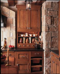 Warm, distressed cabinets. Here's a chance to indulge your rustic side. Distressed cabinets in warm tones look great in  kitchens. Consider knotty alder or pine with a medium-tone stain. Notice the imperfect lines of these lightly distressed cabinet doors.