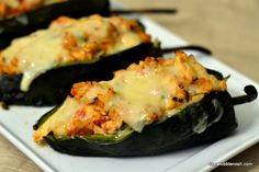 Poblanos Stuffed with Cheddar and Chicken - Delicious, and easy enough for a weeknight dinner! #recipe @Chew Nibble Nosh