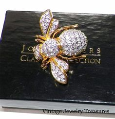 bee vintage jewelry boxes | JOAN RIVERS Clear Crystal Gold Tone Bee Pin New in Box