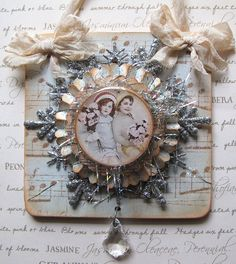 Shabby Chic Vintage Style Altered Ornament Plaque Sign by gillmclr, $8.50