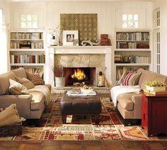 salon rustique contemporain avec kilim et décoration exotiques