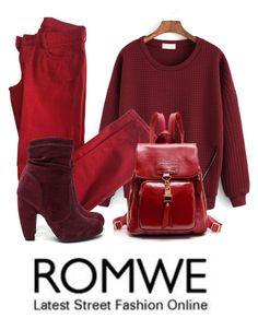 """Red Sweatshirt"" by reader-fashion-lover ❤ liked on Polyvore featuring Comptoir Des Cotonniers and romwe"