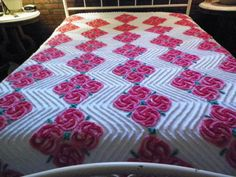 "333 Vintage Pink/ Red Floral  Chenille Bedspread Quilt Size: 100 "" X 92"""