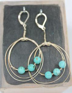 Boucle d'oreille en argent sterling et de pierres semi-précieuse, turquoise by CreationBizart on Etsy