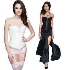 Sexy Lingerie Women's Corset Hot Lady Bridal Satin Corset Black/White C8486 Sexy Gifts Valentine's Day Wife Honeymoon