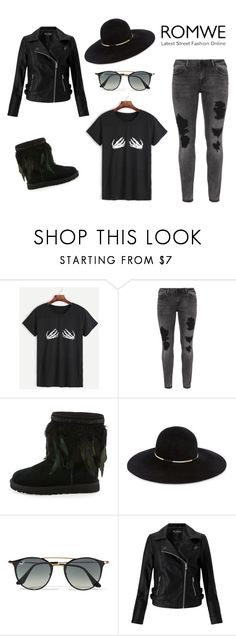 """Bez naslova #8"" by saara996 ❤ liked on Polyvore featuring Zizzi, UGG, Eugenia Kim, Ray-Ban and Miss Selfridge"