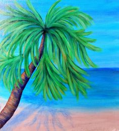 Tropical Beach - Caribbean Beach - Palm Tree Painting - Beach Painting - Paradise - Vaction - Original Painting - Large Canvas by HeartsAndKeys on Etsy