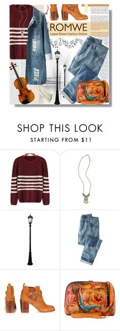 """""""Romwe Striped Sweater"""" by prigaut ❤ liked on Polyvore featuring Schumacher, BP., Gama Sonic, Wrap and Anuschka"""