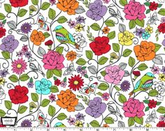 Spring Fling White from Michael Miller by JAQSFabrics on Etsy