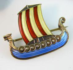 Vintage Sterling Enamel Pin Brooch Norway Viking Dragon Boat Aksel Holmsen Norne 1930s Jewelry