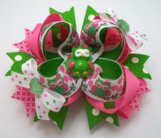 Valentine's Owl Hair Bows Pink And Green by JustinesBoutiqueBows