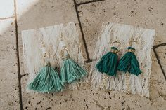 Mint and Quetzal Handmade Tassel Earrings    #etsy  #jewelry  #handmade  #tasselearrings  #tassels  #diytassels
