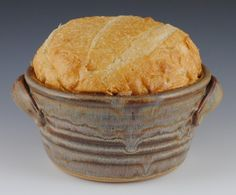 Neal Pottery Bread Baker with 8 Recipes Included - Handmade Stoneware in Brown Glaze - The Original - Featured in Midwest Living Magazine
