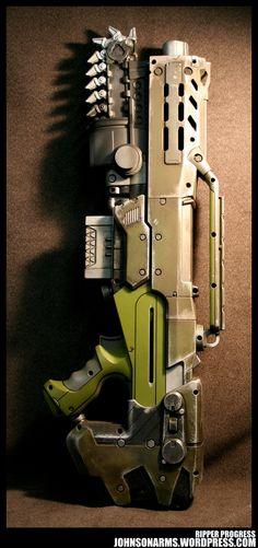 Gears of War - Ripper Steampunk Weapons, Sci Fi Weapons, Weapons Guns, Nerf Longshot, Modified Nerf Guns, Cool Nerf Guns, Nerf Mod, Cosplay Weapons, Gun Art