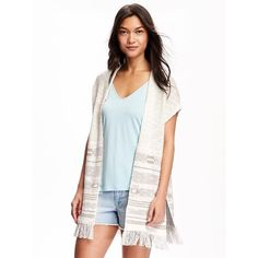 Old Navy Geo Patterned Fringe Open Front Poncho For Women ($36) ❤ liked on Polyvore featuring outerwear, geo, old navy, open front poncho, white poncho, cotton poncho and fringe poncho