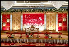 27 ideas wedding backdrop indian stage decorations floral design for 2019 Engagement Stage Decoration, Wedding Flower Decorations, Marriage Decoration, Backdrop Decorations, Wedding Flowers, Wedding Dresses, Flowers Decoration, Backdrops, Reception Stage Decor
