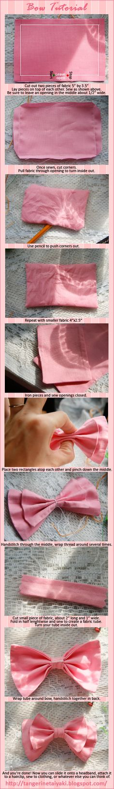 Bow Tutorial by ~TangerineTaiyaki - This would be good for lolita accessories or detail on a lolita dress.