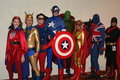 A bunch of Marvel's heroes from the 1940s -- from left to right, Miss America, The Whizzer, Bucky, Captain America, The Vision, Spitfire, Union Jack, and The Black Marvel | Real people looking like Super heros - Page 112 - The SuperHeroHype Forums #cosplay
