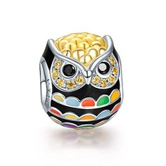 NinaQueen 925 Sterling Silver Gold Plated Owl Charms with Zirconia, Fine Women Jewelry, a great gift for Mom, Wife, Girlfriend, and friends on Valentines day, Thanksgiving Day and Christmas Day.