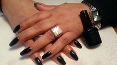 Lupe is wearing CND Shellac Midnight Swim by Penny's Pretty's