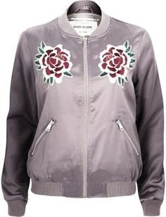 River Island Womens Light purple satin floral bomber jacket - $96.00