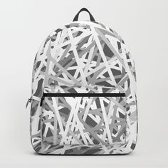 "black and white backpack from society 6 - Our Backpacks are crafted with spun poly fabric for durability and high print quality. Thoughtful details include double zipper enclosures, padded nylon back and bottom, interior laptop pocket (fits up to 15""), adjustable shoulder straps and front pocket for accessories. Dry clean or spot clean only. One unisex size: 17.75""(H) x 12.25""(W) x 5.75""(D)."