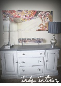 Custom Order Metallic Silver and White Dresser / Buffet / Changing Table / Tv Stand