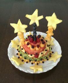 All fruit castle. Kid's party vegan fruit cake