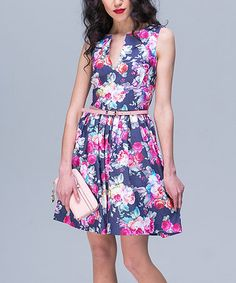 Look at this #zulilyfind! Denim & Fuchsia Floral Notch-Neck Fit & Flare Dress & Belt #zulilyfinds