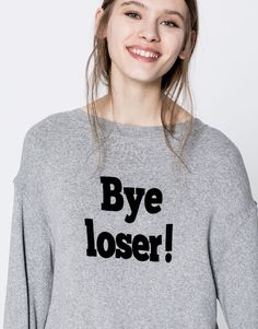 Pull&Bear - mujer - ropa - sudaderas - sudadera texto bye loser - gris vigo - 05592330-V2017