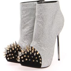 Boutique Naomi Silver Glitter Studded Toe Shoe Boot ($80) ❤ liked on Polyvore