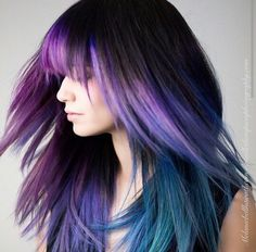 purple dyed ombre hair @american_salon