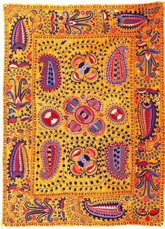 Suzani - Paisley Rug. Embroidered Lakai Silk. Circa Mid-19th Century.