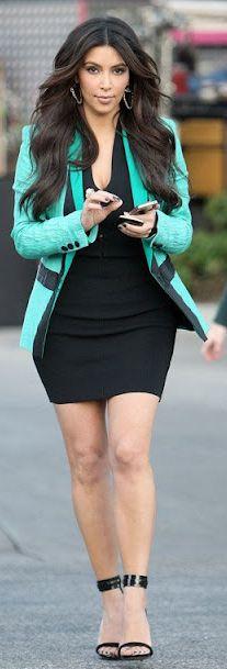 Kim Kardashian:  Dress – Alexander Wang    Jacket – Tim Van Steenbergen    Shoes – Celine    Earrings – Aesa