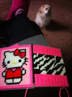 Hello Kitty Plastic Canvas Patterns | Hello Kitty pink zebra tissue box made for my BFF!