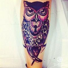 Coruja na perna - Foto #5582 - Mundo das Tatuagens