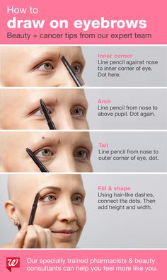 We've partnered with Look Good Feel Better® to provide extra training to our pharmacists and beauty consultants to help those living with cancer feel more like themselves. Eyebrow Beauty, Eyebrow Makeup Tips, Hair Makeup, Beauty Make Up, Hair Beauty, How To Draw Eyebrows, White Nail Designs, Beauty Consultant, Eye Make Up