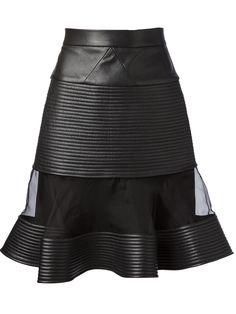 David Koma Sheer Panel Leather Skirt - Jean Pierre Bua - Farfetch.com