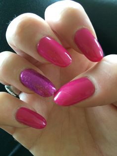 Hot pink and Fuschia glitter acrylics | Nails by Bex Fisher