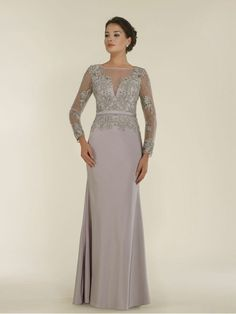 Long Sleeves Illusion Neckline Lace Chiffon Mother of The Bride Dresses 99803016