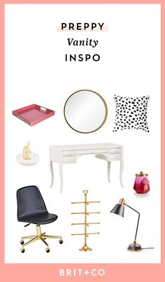 You might already have a pretty little desk in your bedroom, so why not turn it into a pretty little preppy vanity!