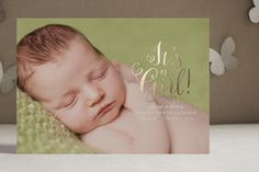 gold foil birth announcement available at Minted