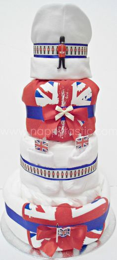 An extra special Queen's Jubilee Commemorative Nappy/ Diaper Cake.