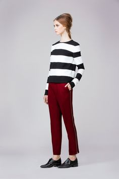 Bold berry pants with zipper detail. Paired with a striped top it's very Parisian chic! Rachel Zoe Fall 2014.