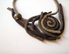 Crochet Necklace Freeform Earth Natural Swirl Beige Brown Fall Fashion